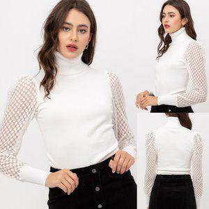 Sheer Contrast Puff Sleeves Turtleneck Sweater